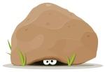 Cartoon Animal Eyes Under Big Stone