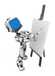 Blue Screen Robot, Painting