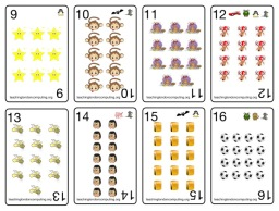 A picture showing 8 of the 16 Happy Times playing cards with cards 9-16 shown in two rows.